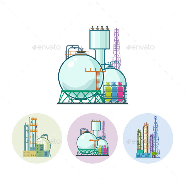Chemical Plant Refinery Processing Icons - Buildings Objects