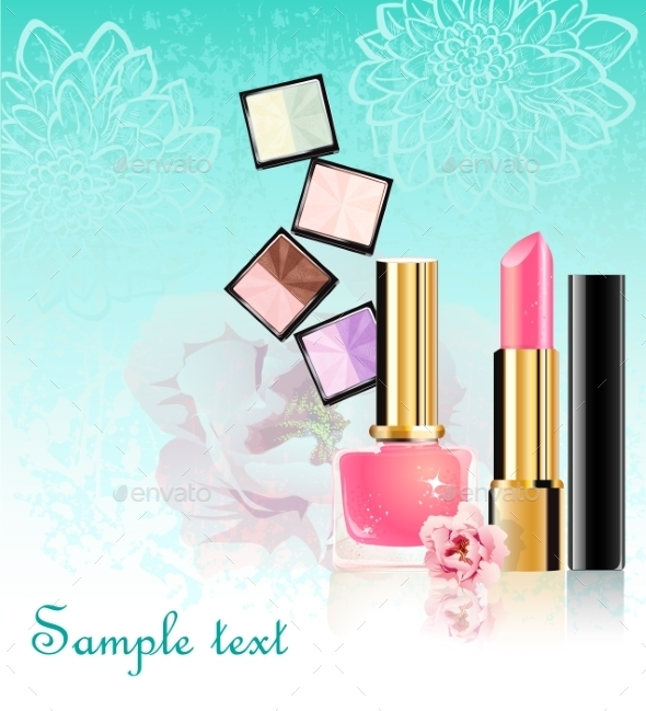 Cosmetics Set with Flowers - Decorative Symbols Decorative