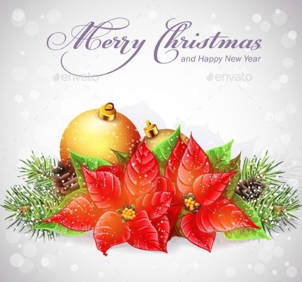 Greeting Card with Christmas and New Year Tree  - Christmas Seasons/Holidays