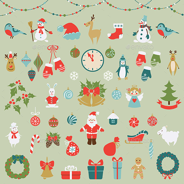 Set of Christmas Flat Graphic Elements - Christmas Seasons/Holidays