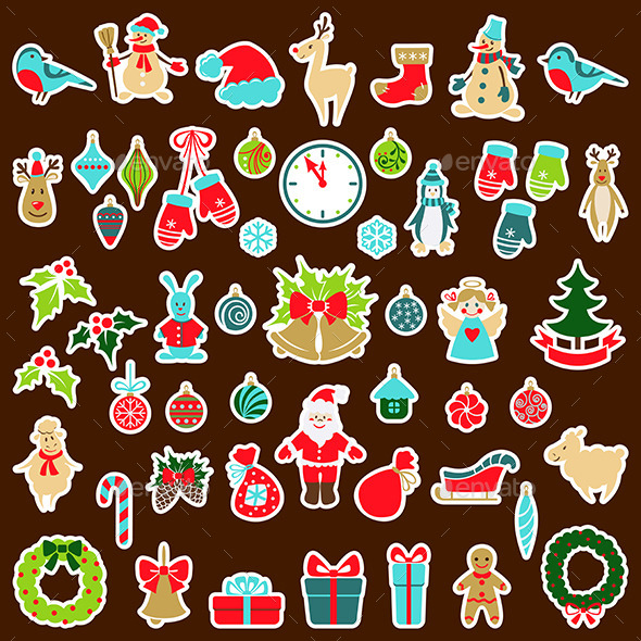 Set of Christmas Stickers - Christmas Seasons/Holidays