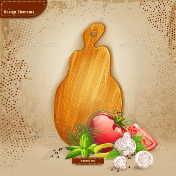 Background with Cutting Board and Ingredients  - Food Objects