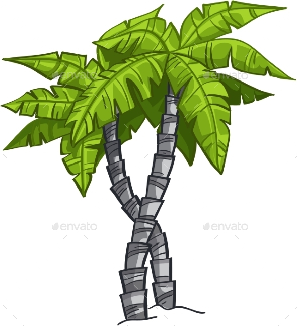 Cartoon Banana Tree - Flowers & Plants Nature