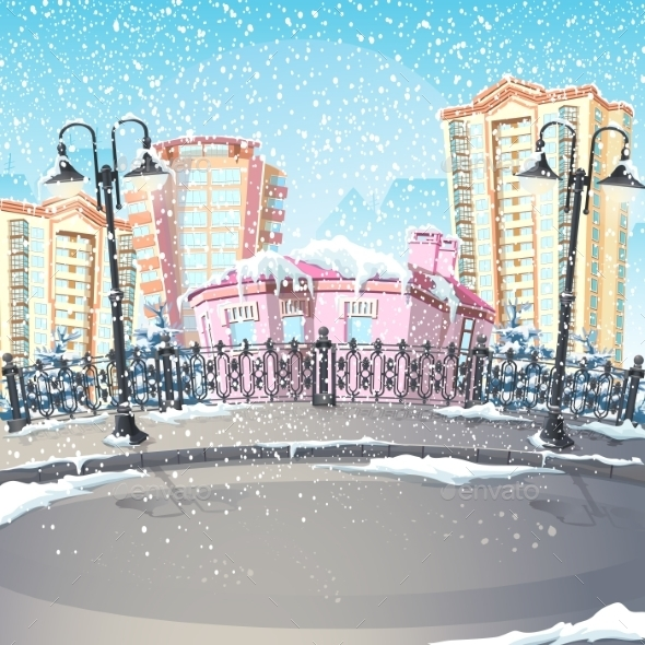 Illustration of a Winter City - Buildings Objects