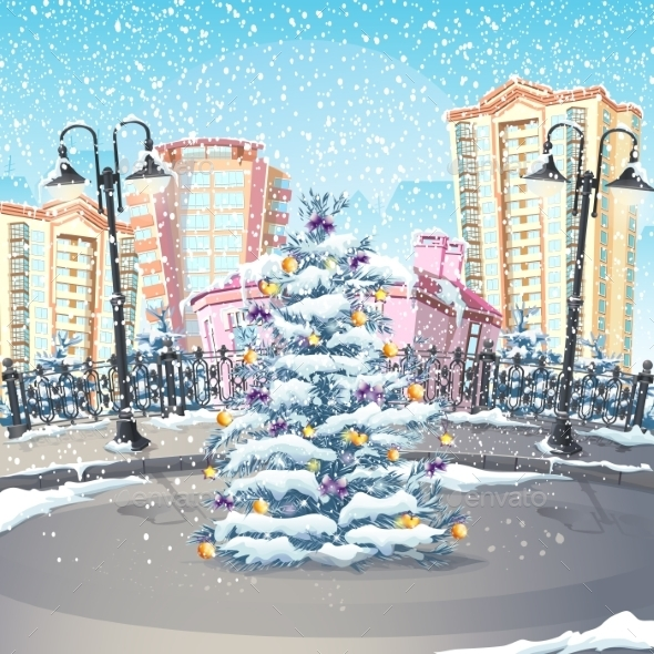 Illustration of Winter with a Christmas Tree - Buildings Objects