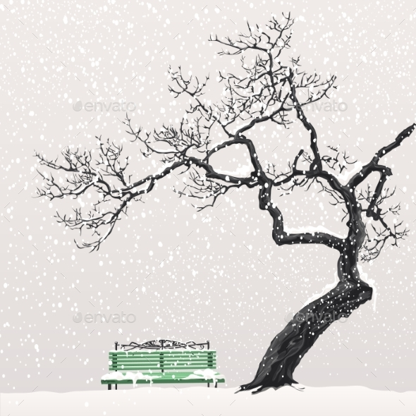 Illustration of a Winter Landscape with a Tree - Seasons Nature