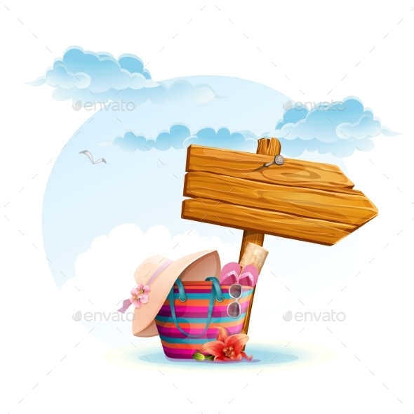 Beach Bag with a Wooden Pointer - Landscapes Nature