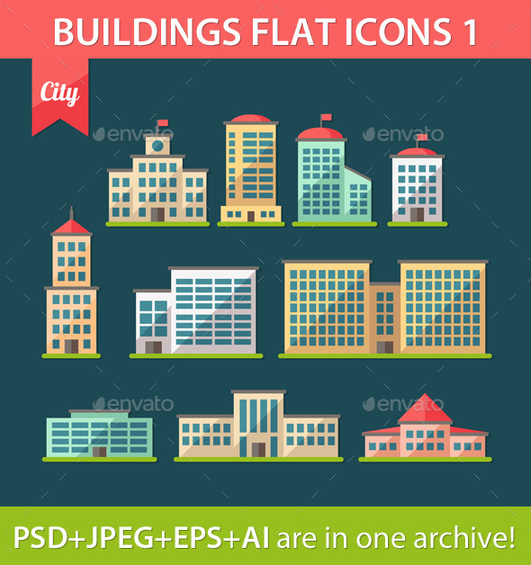 Set of Flat Design Buildings Icons - Buildings Objects