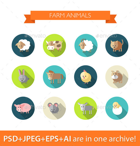 Set of Flat Farm Animals Icons - Animals Characters