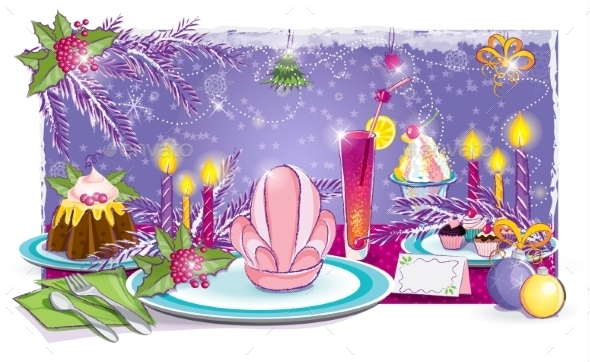 Illustration of a Festive Table for the New Year - Birthdays Seasons/Holidays