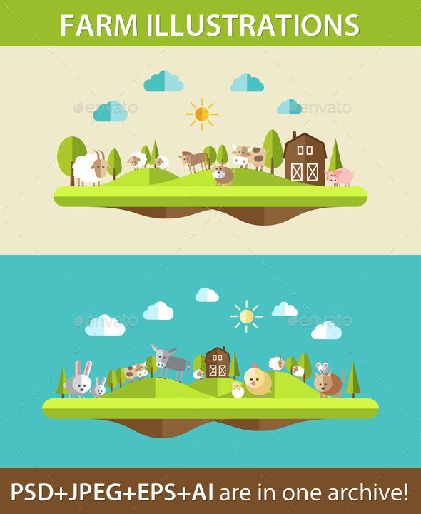 Farm Animal Compositions - Nature Conceptual