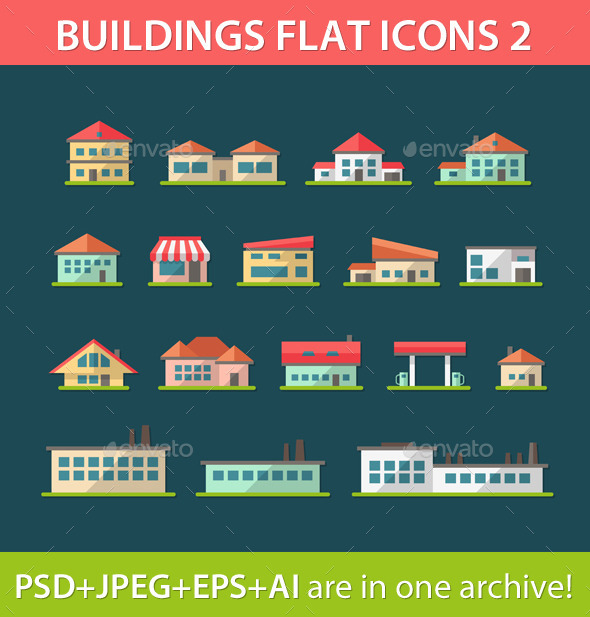 Set of Flat Design Building Pictograms - Buildings Objects