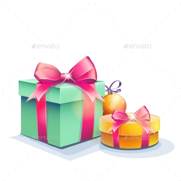 Image of Gift Boxes and Christmas Tree Ball - Christmas Seasons/Holidays