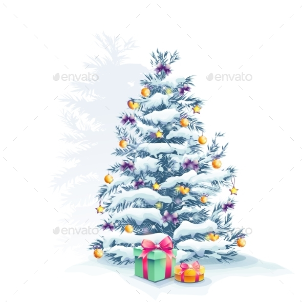 Image of a Christmas Tree with Toys and Gifts - Christmas Seasons/Holidays