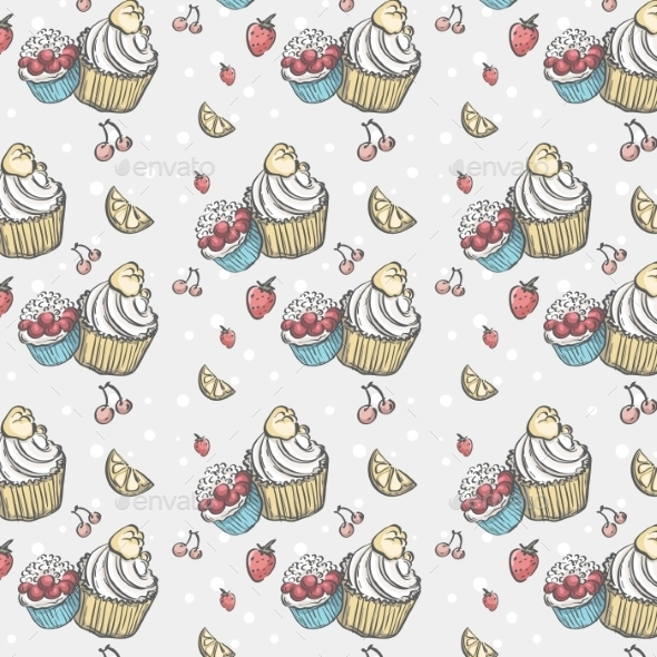 Seamless Pattern with Cakes and Fruits - Birthdays Seasons/Holidays