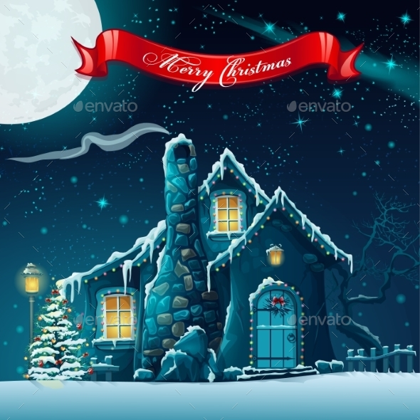 Greeting Card with a Christmas Tree and House - Christmas Seasons/Holidays