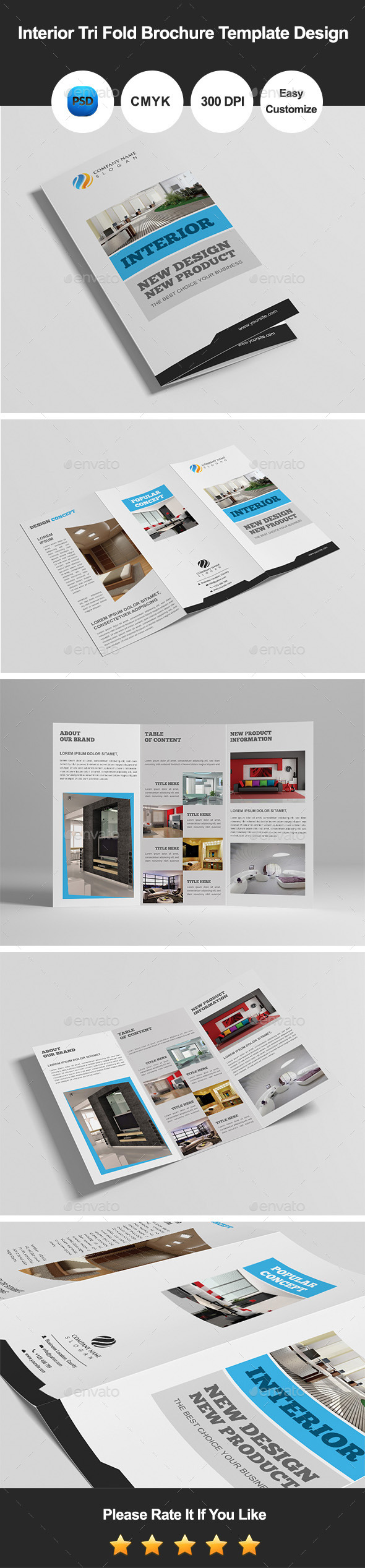 Interior Tri Fold Brochure Template Design - Corporate Brochures