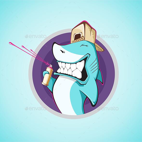 Graffiti Shark - Characters Vectors