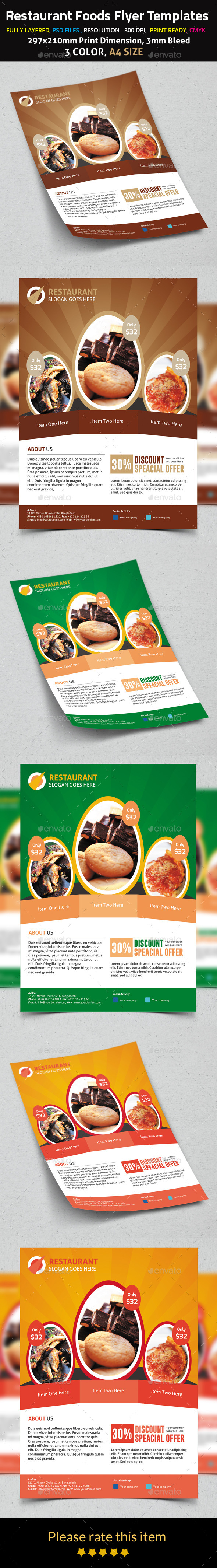 Restaurant Foods Flyer Templates - Restaurant Flyers