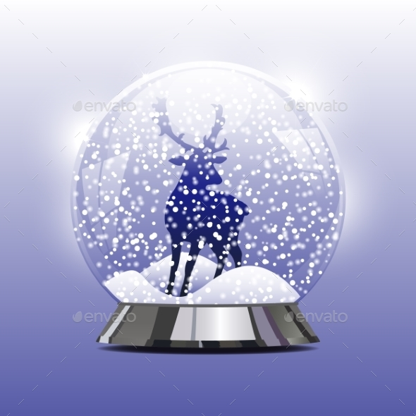 Snow Globe with a Christmas Deer - Christmas Seasons/Holidays