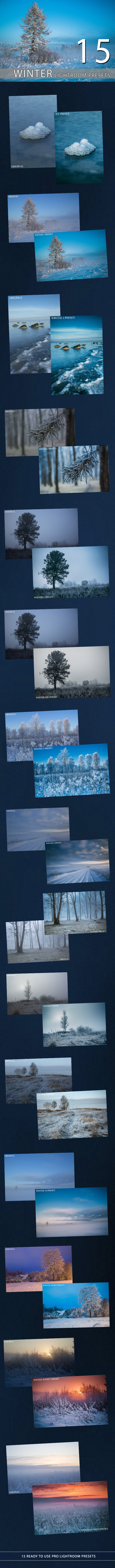 15 Winter Lightroom Premium Presets - Landscape Lightroom Presets