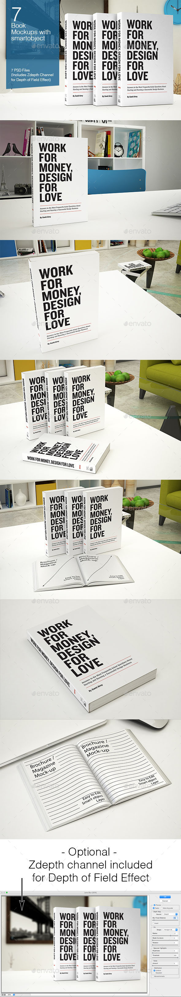 Book Mockup - 7 Poses - Books Print