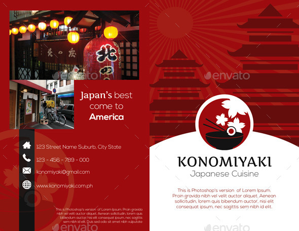 Japanese Restaurant Brochure Bifold Template By Isshiah | Graphicriver