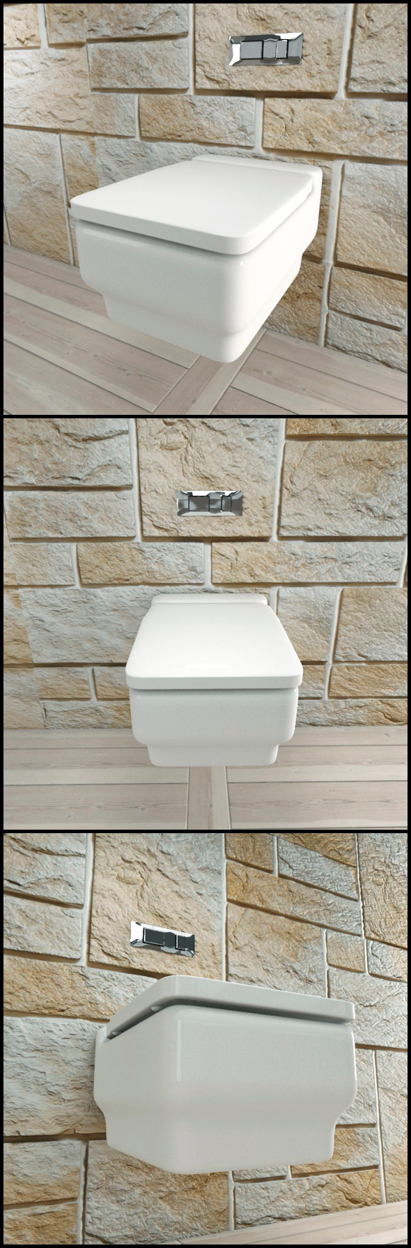 White Ceramic Toilet with Chrome Flush Plate - 3DOcean Item for Sale