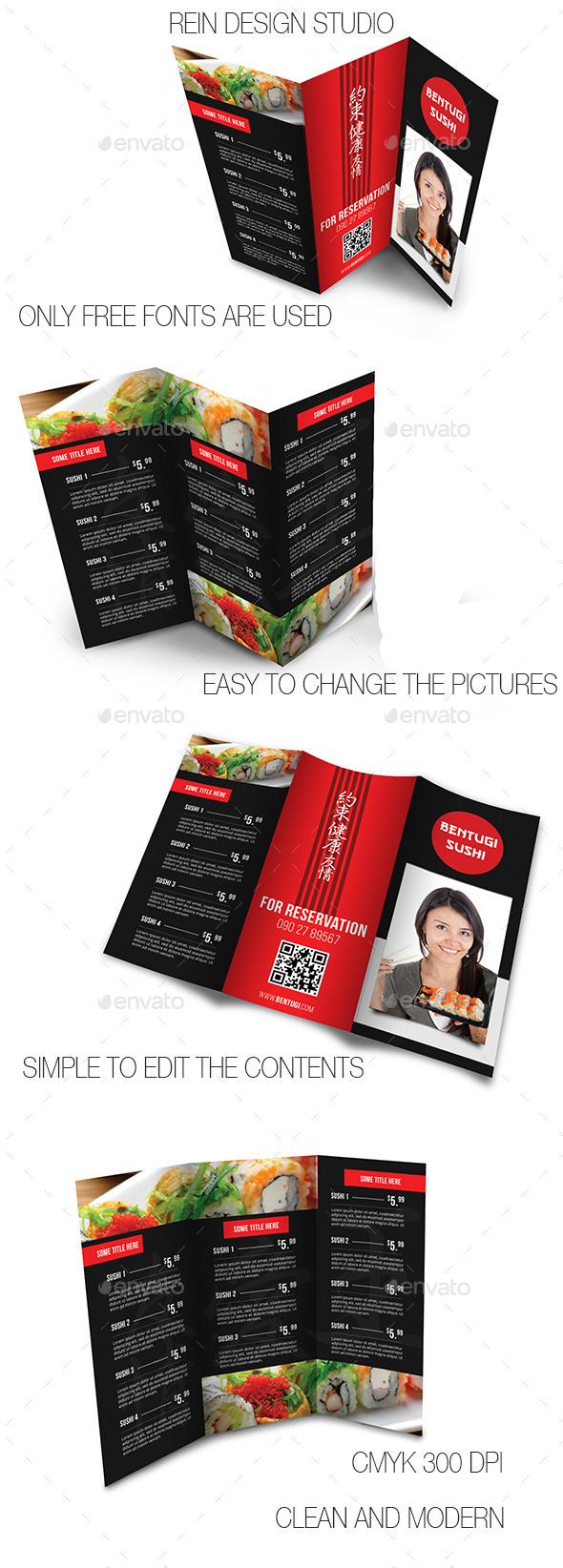 Japanese Restaurant Menu  - Food Menus Print Templates