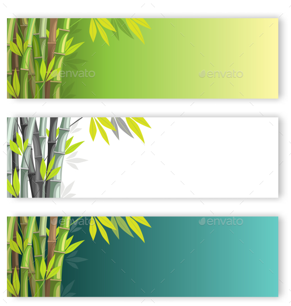 Bamboo Set on Different Colors Backgrounds - Backgrounds Decorative