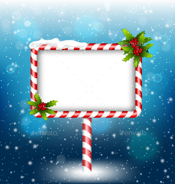 Candy Cane Billboard With Holly Sprigs in Snowfall - Backgrounds Decorative