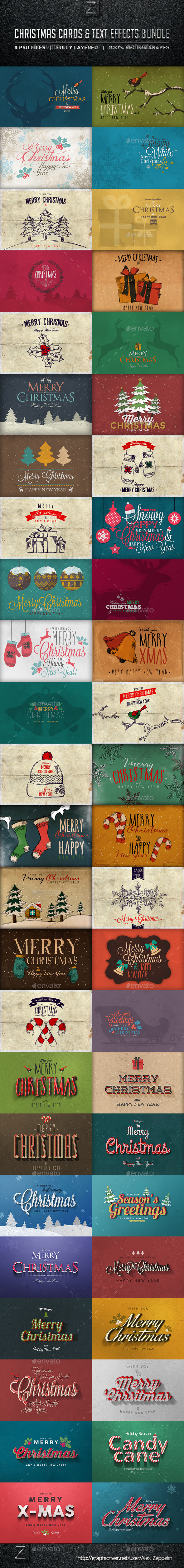 Christmas Cards u0026 Text Effects Bundle