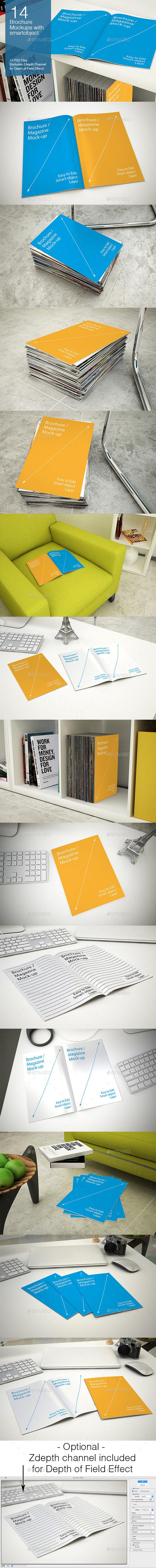 Brochure Mockups - 14 poses - Brochures Print