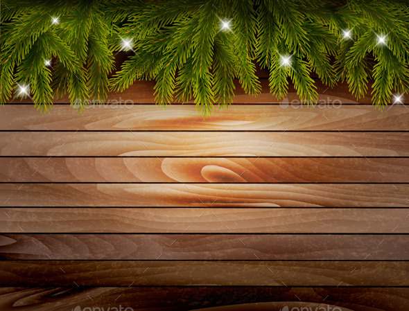 Christmas Wooden Background with Branches - Christmas Seasons/Holidays
