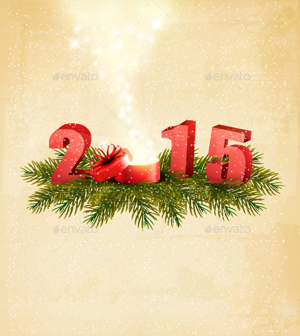 Holiday Background with a Present and 2015 - New Year Seasons/Holidays