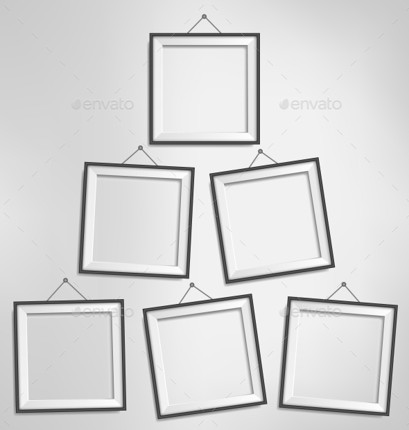 Six Black Modern Blank Frames Isolated on Gray - Backgrounds Decorative