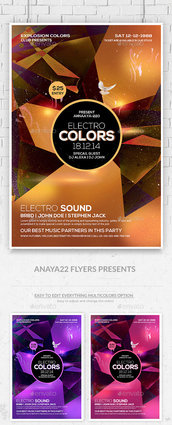 Electro Sound Futuristic Flyer Psd Template - Clubs & Parties Events
