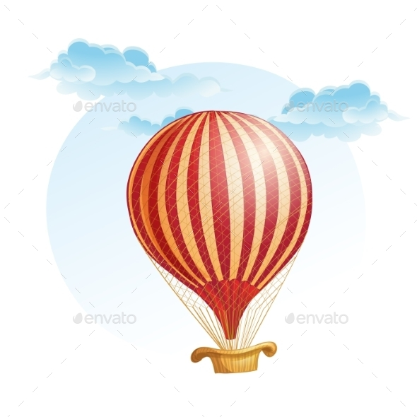 Image of the Balloon in a Strip in the Clouds - Travel Conceptual