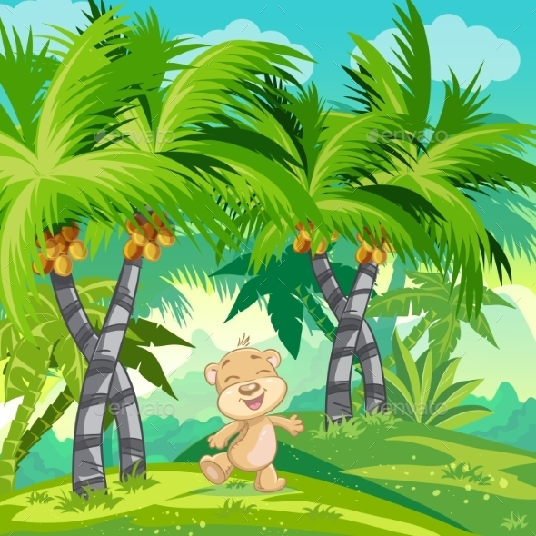Happy Teddy Bear in the Jungle - Landscapes Nature