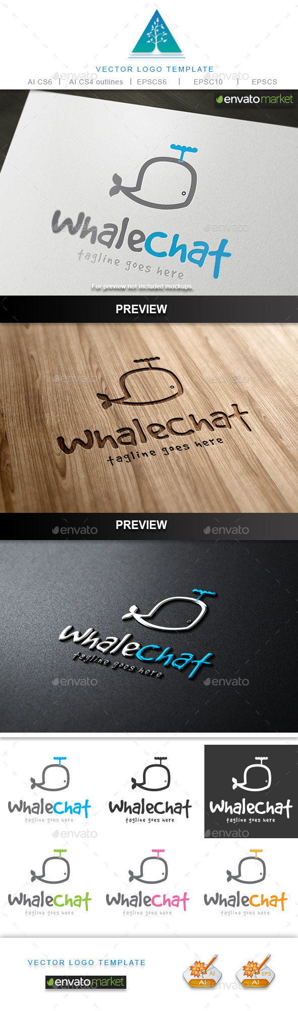 Whale Chat Logo - Animals Logo Templates