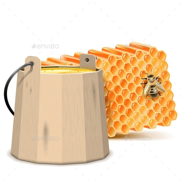 Barrel with Honeycombs - Food Objects