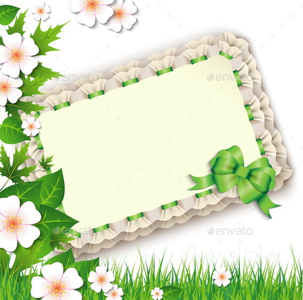 Nature Background with Flowers and Postcard - Flowers & Plants Nature