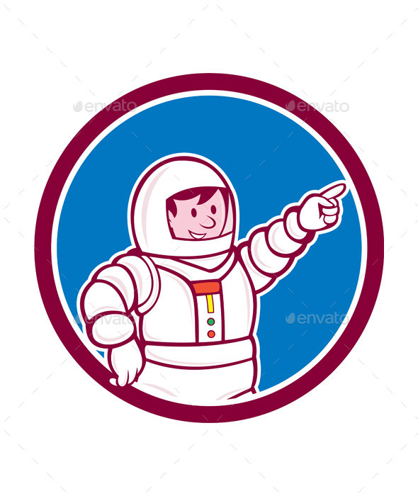 Astronaut Pointing Front Circle Cartoon - People Characters