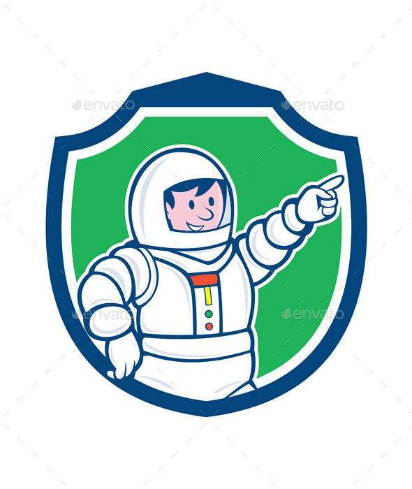 Astronaut Pointing Front Shield Cartoon - People Characters