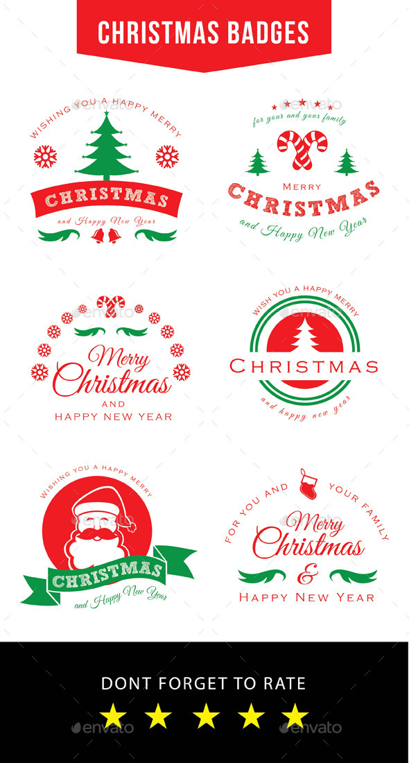 Christmas Badges - Badges & Stickers Web Elements