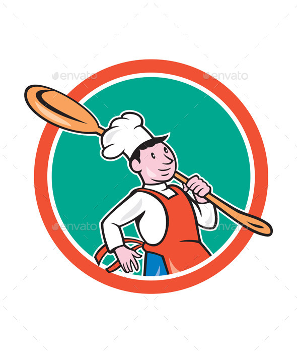 Chef Cook Marching Spoon Circle Cartoon - People Characters