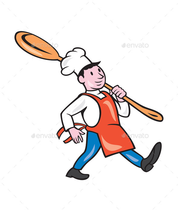 Chef Cook Marching Spoon Cartoon - People Characters