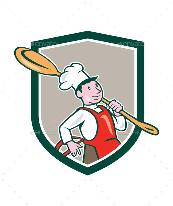 Chef Cook Marching Spoon Shield Cartoon - People Characters