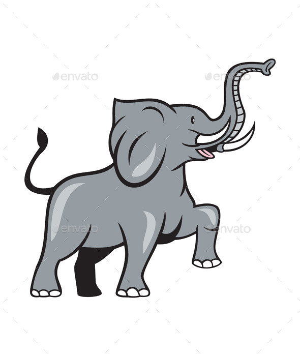Elephant Marching Cartoon - Animals Characters