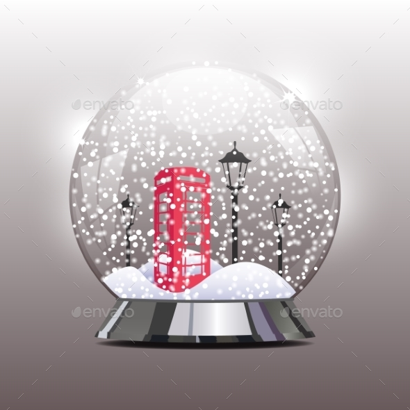Snow Globe with a Red Telephone Booth - Christmas Seasons/Holidays